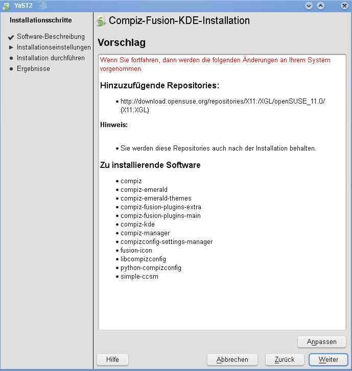 compiz fusion - Opensuse 11: Compiz Fusion im KDE4 installieren